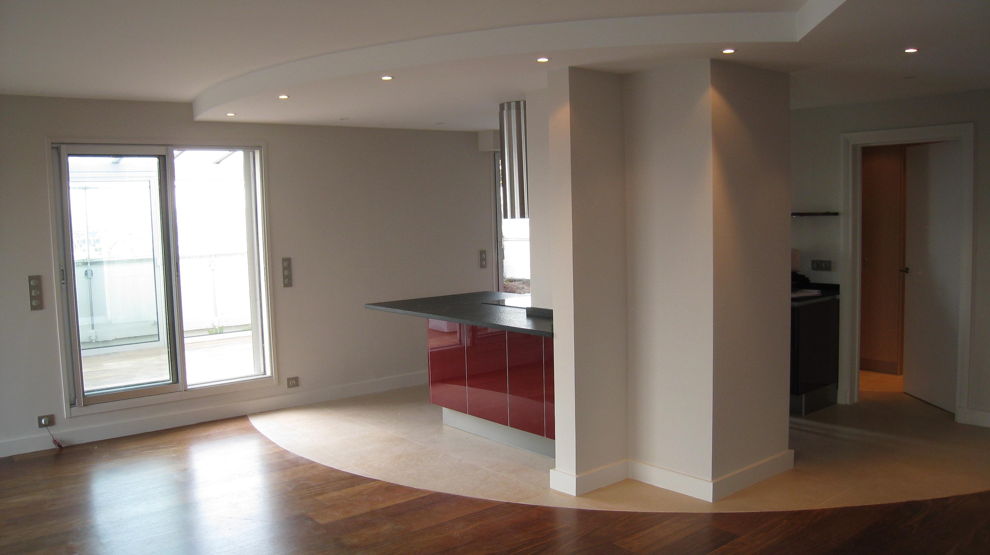 Appartement en espace ouvert neuilly sur seine - Faux plafond cuisine ouverte ...